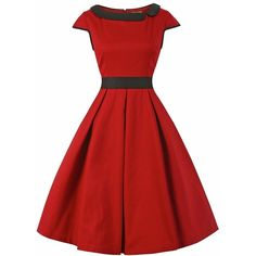 'Chloe' Red Black Swing Dress ($53) ❤ liked on Polyvore featuring dresses, red, cap sleeve cocktail dress, embellished dress, red skater skirt, trapeze dress and red flared skirt