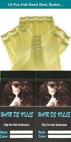 10 Pcs Full Head Heat Resistant Synthetic Clip In Hair Extensions Long 22 Inches 135 g Color Light Blonde. Hair De Ville Hair Extension is a new technology in synthetic clip in hair extension, thermofibre hair that can be straightened and curled to a temperature of 180c. Increase hair length and fullness with these beautiful salon style hair wefts in second .You can also cut, blown dry or wash this type of hair and it is designed to look and feel just like human hair. This hair is really...