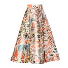 Orange Florals Skirt - All ($960) ❤ liked on Polyvore featuring skirts, orange midi skirt, white floral skirt, floral print skirt, knee length a line skirt and floral a line skirt