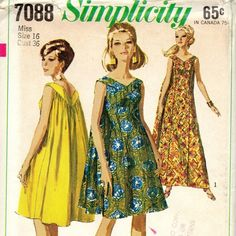 1960s Simplicity 7088 Misses Princess Seam  V Neck Muu Muu Pattern Gathered in Back  womens vintage sewing pattern  | PatternGate - Craft Supplies on ArtFire