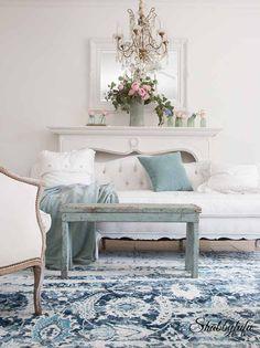 Seafoam Green In A Coastal Style Living Room - Shabbyfufu