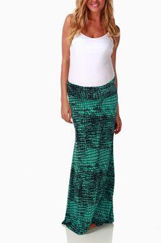 Mint Green Black Sketch Print Maternity Maxi Skirt