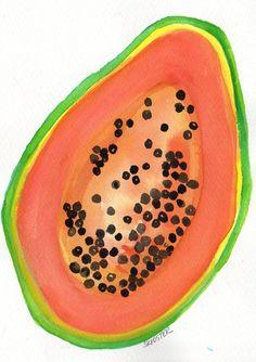 Papaya painting Original Watercolor Painting by SharonFosterArt, $16.00