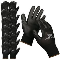 12-Pair Touch Screen Polyester Liner Fiber Size 9 Grey L Basics Polyurethane Coated Work Gloves
