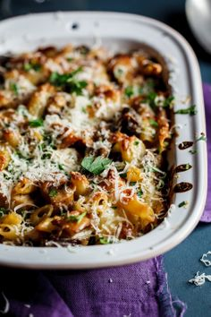 Baked penne with smoked chicken & mushrooms. #recipe #pasta