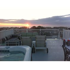 Sunset soak on 4th floor rooftop deck at Beach House Retreats on LBI, NJ. Www.LBI-Vacation.com