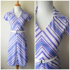 60s/70s Vintage Chevron Polyester Dress w Large Wide Collar by Gay Gibson // Blue, Purple. White // Mod Disco Era Sundress, Mad Men Looks
