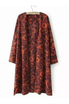 Vintage Red Floral Long Kimono