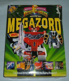 MIGHTY MORPHIN POWER RANGERS MEGAZORD DELUXE SET DINOZORDS BOXED BAN DAI #2260 #Bandai