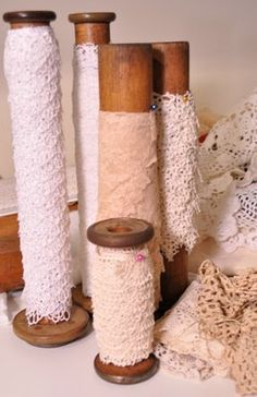 Spools of lace. <3 (And I almost threw my spools out!!)