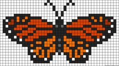 Monarch Butterfly A55036 - friendship-bracelets.net Graph of a Monarch Butterfly. Useful for designs that can be graphed, such as friendship bracelets (as this is where this one came from), melty-beads, bead loom, tapestry crochet etc etc.