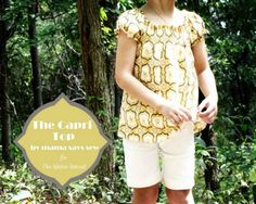 This peasant style top is adorable on any girl and easy to make using the fun shirring technique!