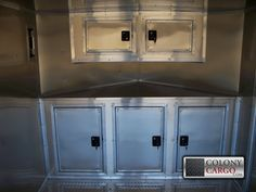 Enclosed Trailer Cabinets, Enclosed Trailer Camper, Cargo Trailer Camper, Cargo Trailers, Utility Trailer, Trailer Shelving, Trailer Storage, Travel Trailer Organization, Garage Organization