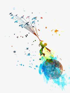 Little Prince 2 Watercolor Art Print Little Prince Tattoo, The Little Prince, Watercolor Quote, Watercolor Paintings, Tattoo Watercolor, Floral Watercolor, Prince Tattoos, Pinturas Disney, Harry Potter Tattoos