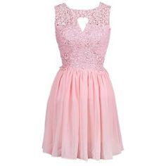 Dressystar Short Prom Dresses Knee Length Elegant Round Neck Evening Dress Lace Formal Gown