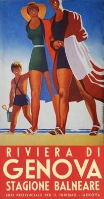 Genoa and Riviera, vintage Italian travel poster Retro Advertising, Vintage Advertisements, Vintage Ads, Vintage Italian Posters, Vintage Travel Posters, Tourism Poster, Poster S, Beach Posters, Travel Ads