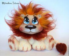 Купить Львёнок - комбинированный, плюшевая игрушка, молочный, львенок, шерсть, авторская работа, авторская игрушка