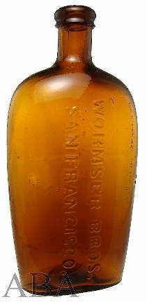 "This bottle is an example of a larger (8.5"" tall and 3.4"" at its widest) union oval type flask with rounded sides, i.e., totally oval in cross section.  It was possibly blown at one of the early San Francisco, CA. glass works though could have  been blown on the Eastern Seaboard (possibly in Stoddard, NH.), has an applied double ring finish, post-bottom mold produced, lacks any evidence of mold air venting, and dates from between about 1867 and 1872."