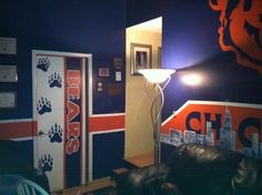 Bear cave, Chicago bears theme room!, Bear cave 2/4 done.Media Rooms Design