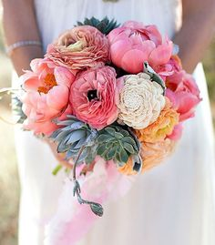 Brudebuket med pæoner
