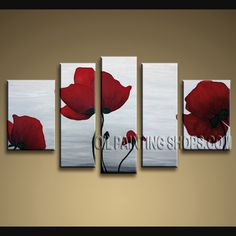 Beautiful Modern Abstract Painting Hand Painted Oil Painting Stretched Ready To Hang Poppy Flower. This 5 panels canvas wall art is hand painted by Bo Yi Art Studio, instock - $138. To see more, visit OilPaintingShops.com