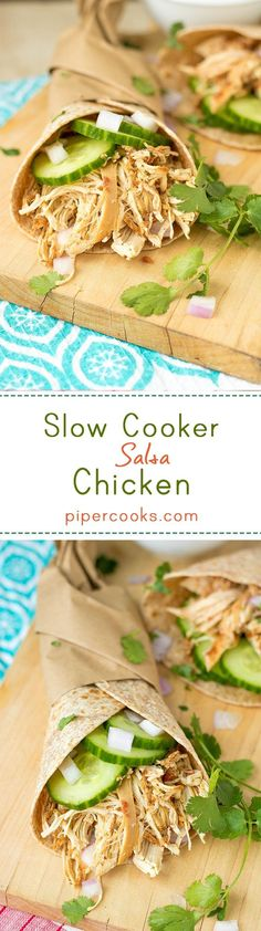 Slow Cooker Salsa Chicken – Easy, quick, Healthy weeknight meal. Just add southwest seasoning mix, salsa and chicken to your slow cooker, on high for 3 hours.