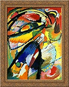 Amazon.com: An angel of the Last Judgement 24x20 Gold Ornate Wood Framed Canvas Art by Wassily Kandinsky: Posters & Prints