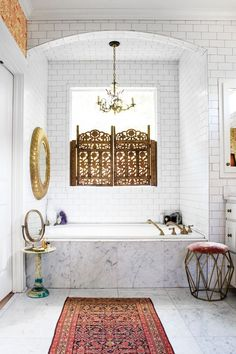 Home Remodel Contractors Carrara marble white subway tile and multiple mirrors brighten up the master bathroom.Home Remodel Contractors Carrara marble white subway tile and multiple mirrors brighten up the master bathroom Eclectic Bathroom, Chic Bathrooms, Marble Bathrooms, Small Bathrooms, Bohemian Bathroom, Moroccan Bathroom, Decorating Bathrooms, Modern Bathroom, Classic Bathroom
