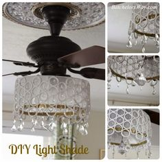 Cool DIY fan chandelier made from sliced PVC pipe pieces & crystals Master Bedroom on a Budget Reveal Batchelors Way Ceiling Fan Chandelier, Chandeliers, Chandelier Crystals, Rustic Chandelier, Cool Diy, Fan Light Covers, Diy Light Shade, Bedroom Design On A Budget, Ceiling Fan Makeover