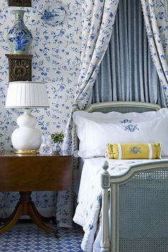 Lovely bedroom with matching pattern on the wall and canopy bed