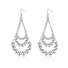 Women's White Silver Color Trendy Theme Waterdrop Earring Women Jewelry wholesale and Free Shipping