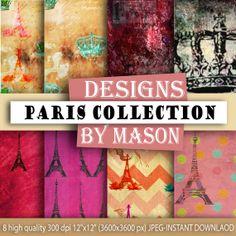 """Paris digital paper: """"PARIS GRUNGE"""" with parisian grunge classical patterns with queen crown chevron paris patterns in mix colors, velvet - Paris Themed Scrapbooking papers"""