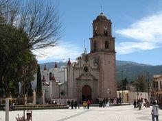 Zocalo and a church in Perote, Veracruz.