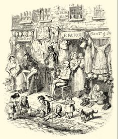 George Cruikshank, Monmouth Street, in: Sketches by Boz (= Charles Dickens) , London 1836 Victorian Life, Victorian London, Edward Gorey, London Places, Vintage World Maps, Old Things, Sketches, Scene, Street