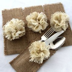 Burlap silverware | http://bestromanticweddings.blogspot.com