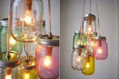 Milk Bottle Light Fixture | Gorgeous light fixtures, such as this one! The colors are beautiful ...