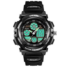 Black Kids Boys Waterproof Dual Movement Analog Digital Watch ** Want to know more, click on the image. (Note:Amazon affiliate link)