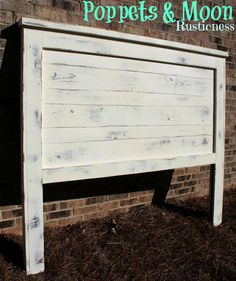 Reversible Solid Wood Vintage White W Gray Distressing Queen Headboard Farmhouse