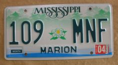 2004 Mississippi License Plate - 109-MNF