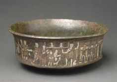 Bowl from Caesarea Palaestinae  Fourth century AD  Beirut, Lebanon, Palestine. The elegant decoration and contrasting colors of the silver, copper, and niello inlays make this bronze bowl an exceptionally ornate piece. It was created in the Lower Empire, and commemorates the founding of Caesarea Palaestinae.