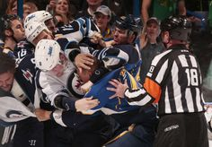 The St. Louis Blues and Winnipeg Jets get into a scuffle after a game that the Blues won 4-1.  3-17-14