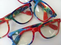 #rave #lightshow glasses - Tie-dye bright. $13.00, via Etsy. - When looking thew these every light looks like a #firework!