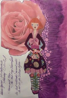 Collage and acrylic paint for the first page in the Book of Legend-Ravens At My Window/Roses On My Wall 2012 Deborah K. Tash