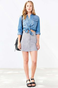 BDG Button-Front Scuba Skirt - Urban Outfitters