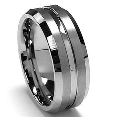 Men's Tungsten Wedding Ring 8 MM High Polished by PCHJewelers