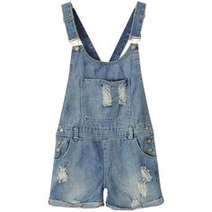 Chicnova Fashion Pocket Ripped Denim Overalls ($20) ❤ liked on Polyvore featuring jumpsuits, overalls, shorts, bottoms, bib overalls, distressed overalls, blue overalls, blue denim overalls and blue jump suit