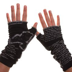 "Edgar Allan Poe's poem ""The Raven"", printed on a pair of fingerless gloves--WANT!! #Poe #gloves #Gifts"