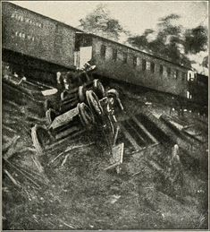 """(1862) A train destroyed during one of """"Stonewall"""" Jackson's raids."""
