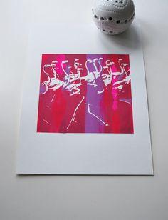 Running Flamingos - Pink Multi Color Small print. $25.00, via Etsy.