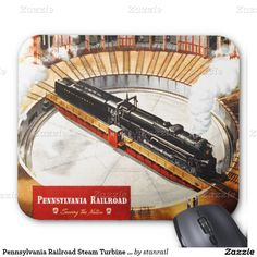 """Pennsylvania Railroad Steam Turbine Mousepad; $11.95 - #stanrail - Create a custom mousepad for home and office! Decorate your desk with your favorite image or choose from thousands of designs that look great and protect your mouse from scratches and debris. 9.25"""" x 7.75"""" – Perfect for any desk or work space. @stanrails_store"""